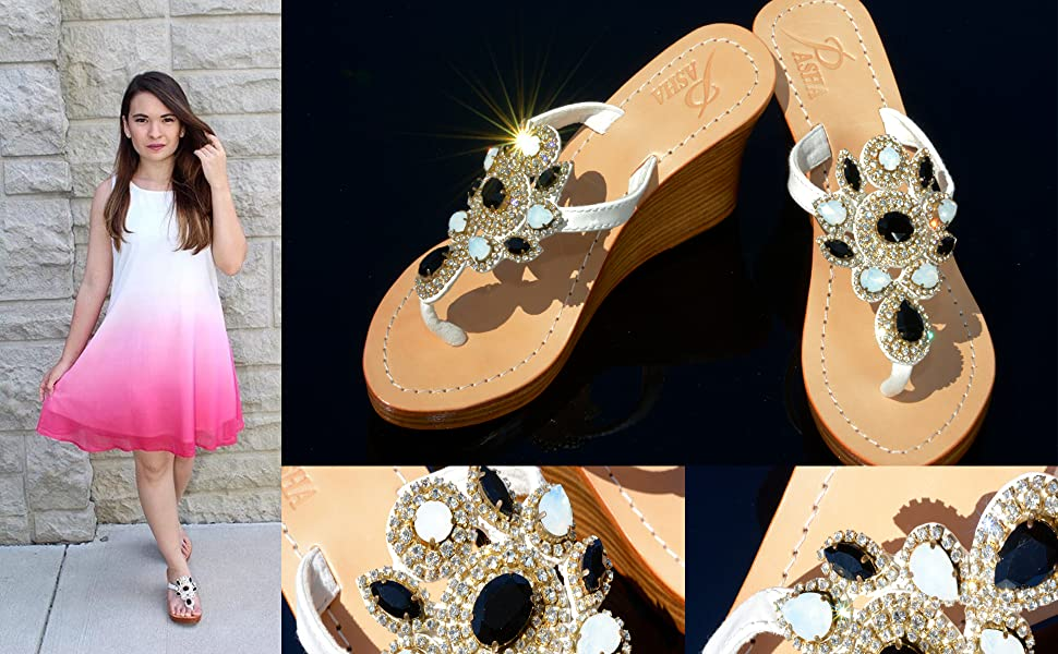 f32f18766 GORGEOUS JEWELED GENUINE LEATHER SHOES PASHA