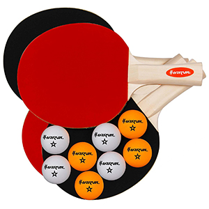 Complete Ping Pong Racket Set with 4 Rackets Paddles and 8 Colored Ping Pong Balls