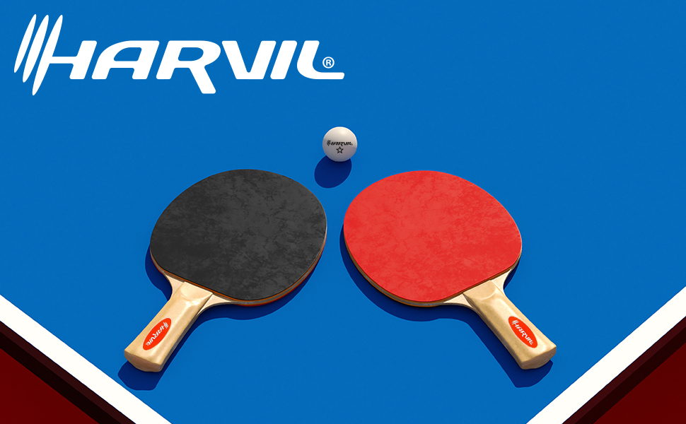 Harvil 4-Player Ping Pong Table Tennis Racket Ball Set with Carrying Case