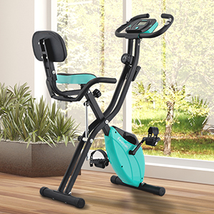 Exercise Bike in vibrant aqua color perfect for indoor home gyms and fitness clinics