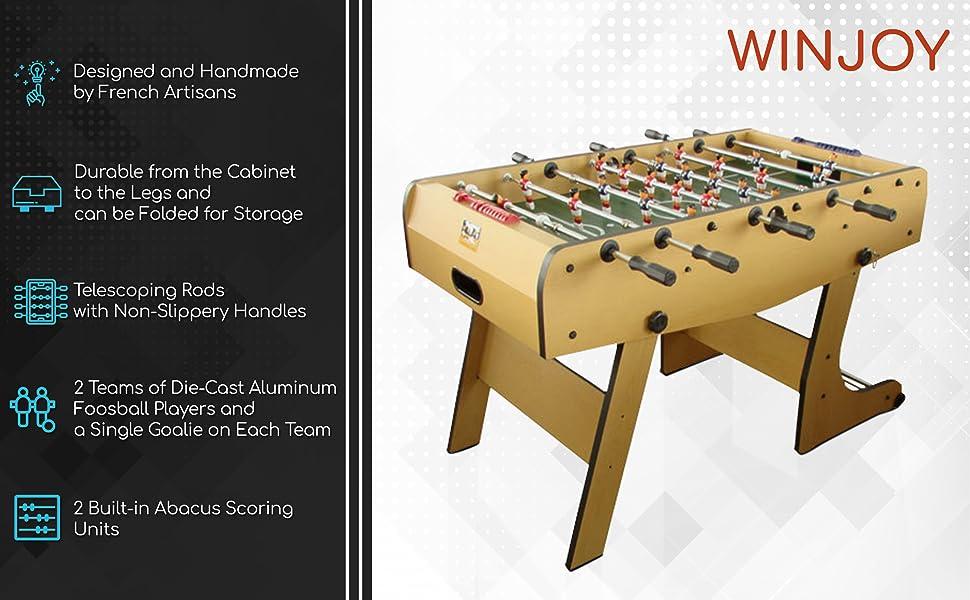 Amazoncom René Pierre Folding Foosball Table Winjoy Designed - Single goalie foosball table