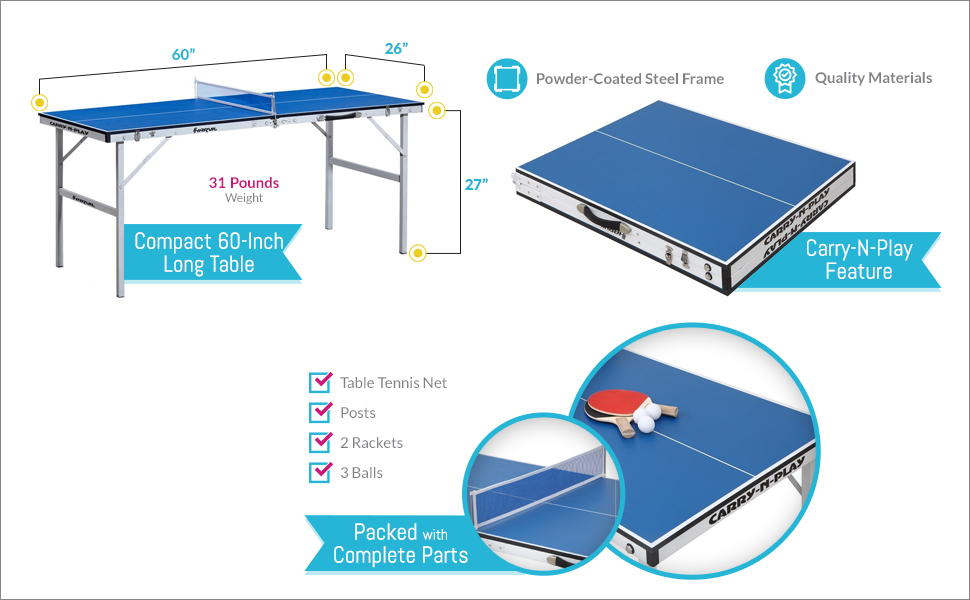 Awesome Features Of This Harvil 60 Inch Folding Portable Table Tennis Table