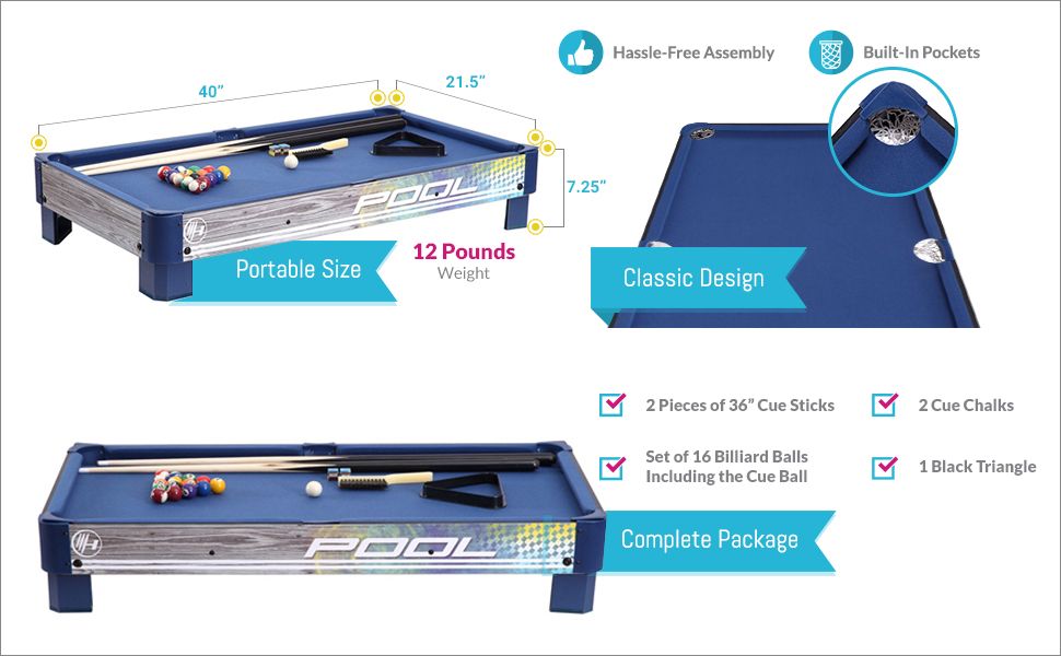Amazoncom Harvil Tabletop Pool Table With Lstyle Legs Includes - 40 inch pool table