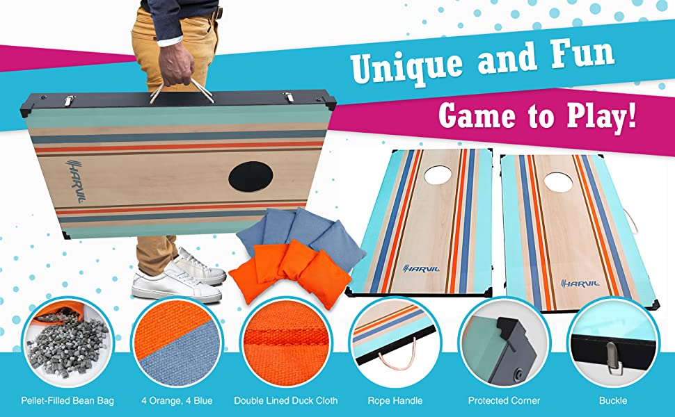 awesome features of the harvil classic corn hole bean bag toss game set - Bean Bag Toss
