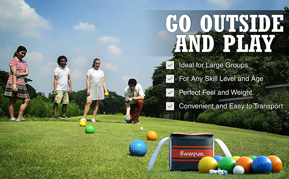 awesome features of the harvil 90mm bocce ball set