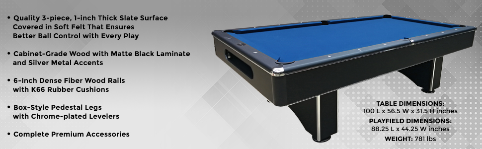 Amazoncom Harvil Galaxy Slate Pool Table Foot With Blue Felt - Pool table dimensions inches