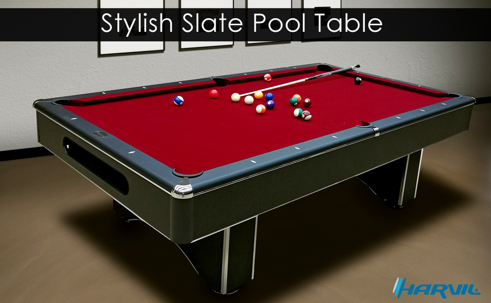 Amazoncom Harvil Foot Slate Pool Table With Red Felt Galaxy - Red top pool table