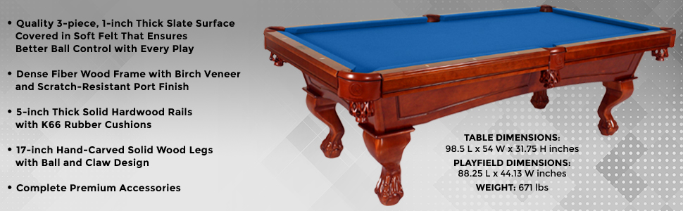 Amazoncom Harvil Bellagio Slate Pool Table Foot With Blue Felt - Pool table dimensions inches