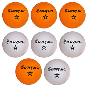 Four Orange and Four White Ping Pong Balls with One Star Each in the Harvil Set