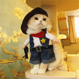 Mikayoo Pet Dog Cat Halloween Costumes,The Cowboy for Party Christmas Special Events Costume,West Cowboy Uniform with Hat,Funny Pet Cowboy Outfit Clothing for Dog cat 47
