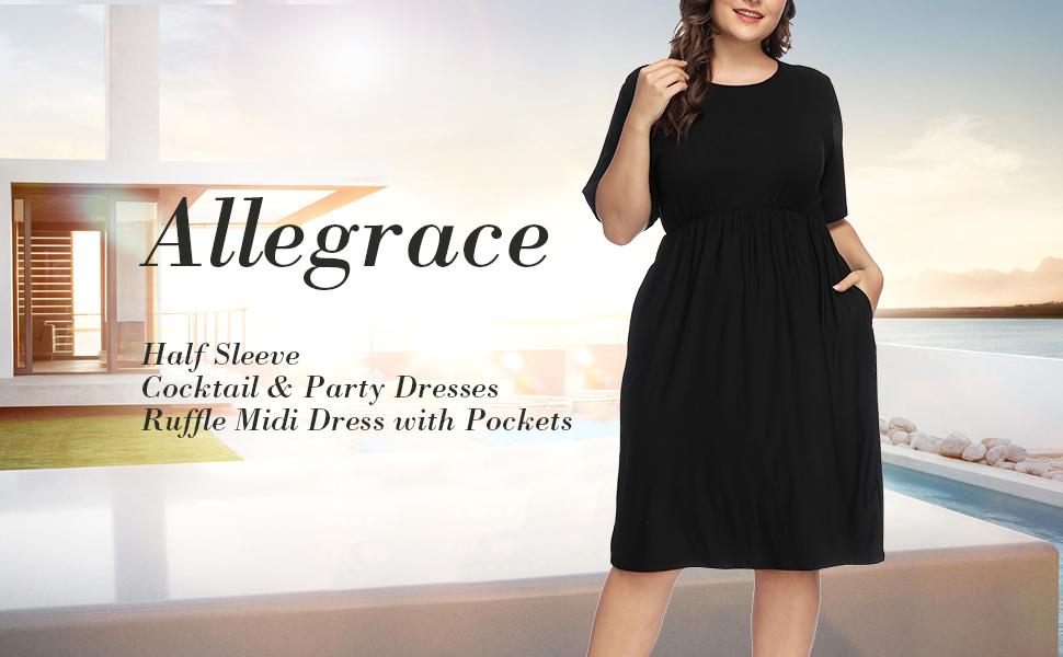 f07706c7720 Allegrace Women Plus Size Half Sleeve Round Neck Cocktail Midi Dress ...
