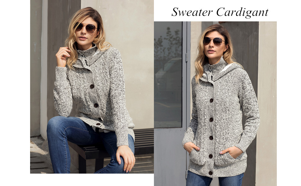 452ab1a42 Sidefeel Women Hooded Knit Cardigans Button Cable Sweater Coat at ...