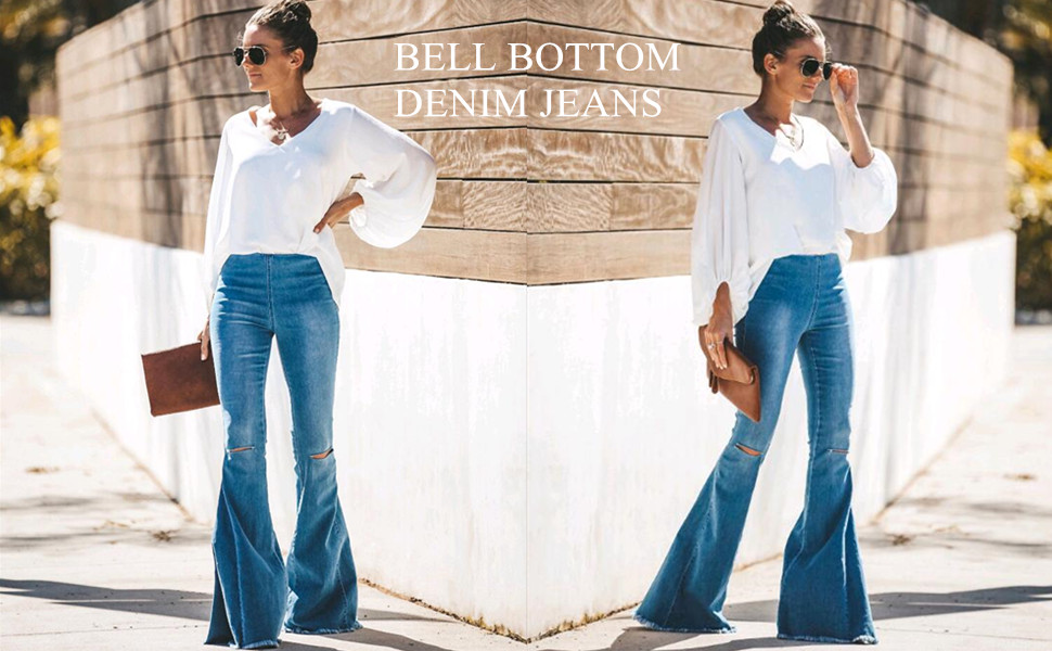 2f20da7c09a58 Distressed Bell Bottom Denim Pants have elastic at the waist that stretch  and move for the utmost wearability! They are super comfortable and  flattering.