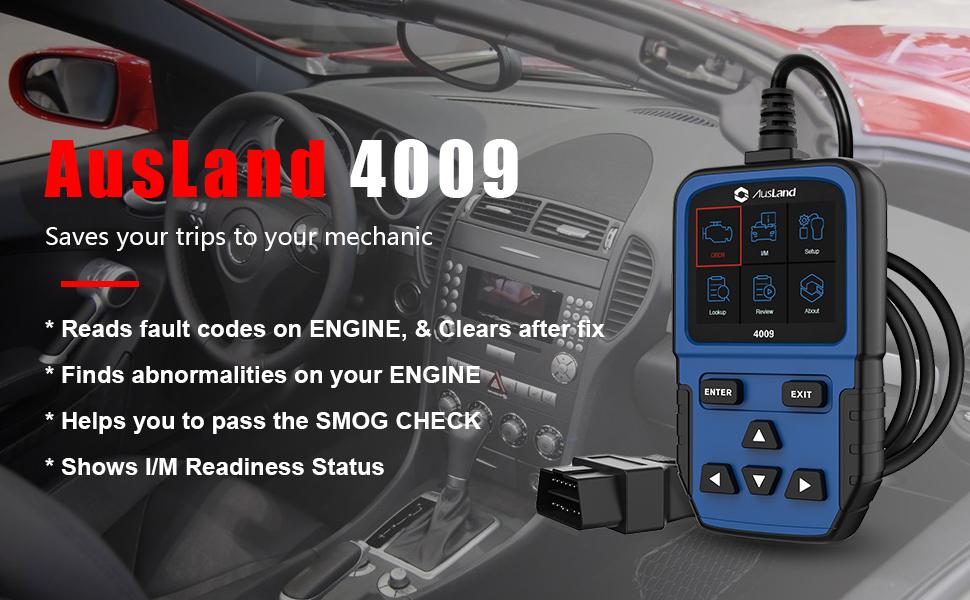 Ausland 4009 Car Code Reader Obd2 Scanner Car Fault Error Code Scanner Auto Check Engine Light Obd 2 Obd Ii Can Automotive Diagnostic Scan Tool 4 Mil