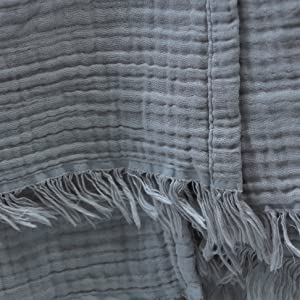 Kyrahome Cool Grey muslin throw blanket