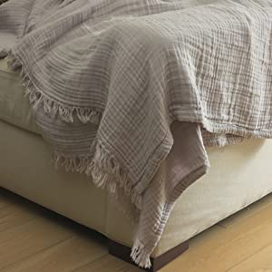 kyrahome cool grey muslin blanket