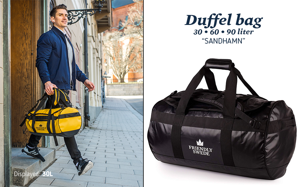 Sandhamn Sports Duffle Bag travel bag by The Friendly Swede - man walking with handheld bag