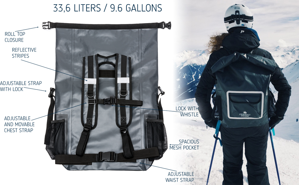 Amazon.com  The Friendly Swede Waterproof Backpack Dry Bag 33L with ... 5692a5d34aa83