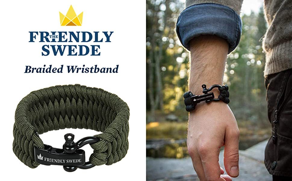 Available in 3 Adjustable Sizes The Friendly Swede Trilobite Extra Beefy 550 lb Paracord Survival Bracelet with Stainless Steel Black Bow Shackle