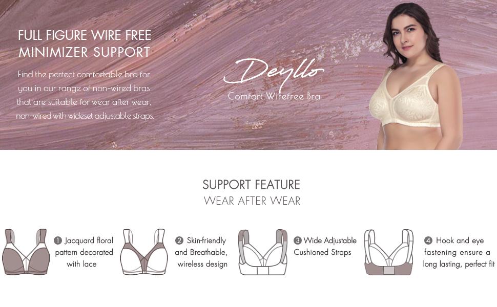 6e6ae3a8c2 Deyllo Women s Full Figure Comfort Wire Free Minimizer Support Bra ...