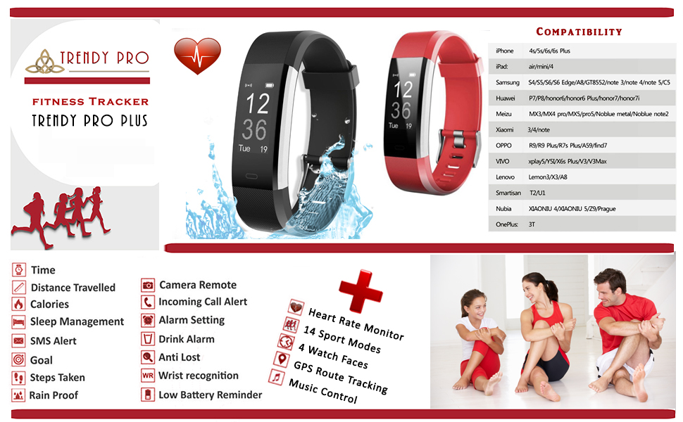 Fitness Tracker Heart Rate Sleep Monitor Waterproof