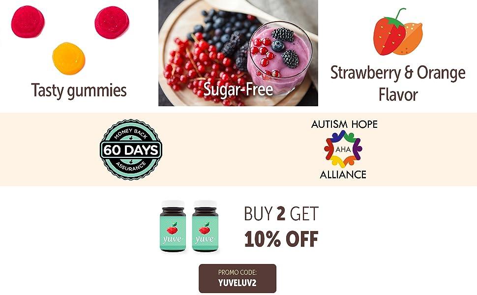 strawberry orange sugar free tasty gummies
