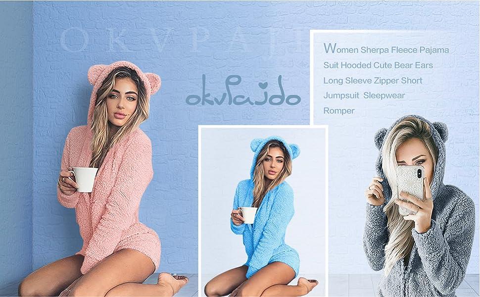 9dc88b41f0a6 Okvpajdo Women Sherpa Fleece Pajama Suit Hooded Cute Bear Ears Long ...