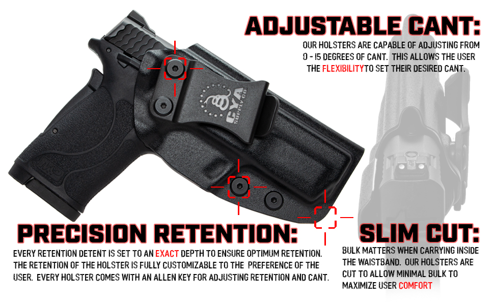 Concealed carry iwb holster kydex boltaron adjustable cant retention with slim cut
