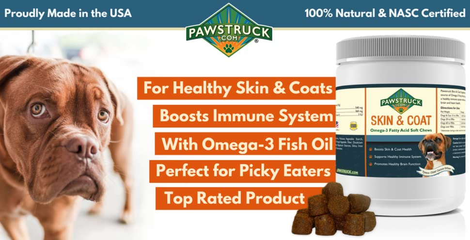 Skin & Coat Supplement Chews by Pawstruck—Give Your Dog or Cat What He Deserves to Be Happy & Healthy!