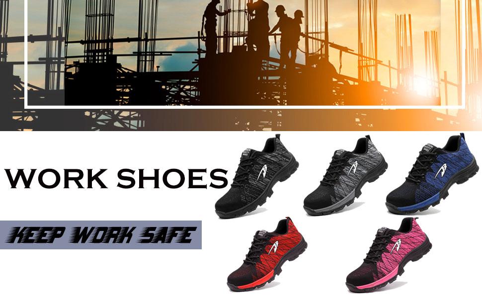 AtreGo Men/'s Indestructible Steel Toe Safety Work Shoes Bulletproof Boots BG