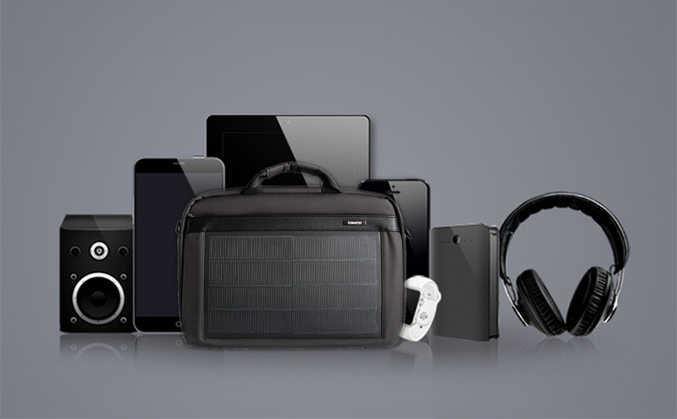 HANERGY Thin Film Solar Powered 8W Laptop Computer Case Electronics Business Shoulder Bag