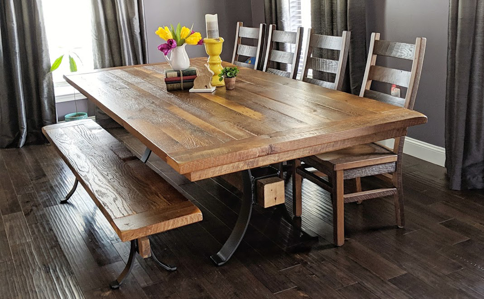 woodworking, wood table, dining room, wooden table and chairs, real wood, natural wood, reclaimed