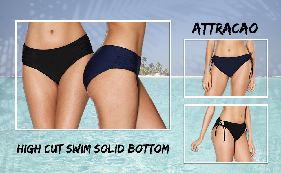 78daa591496fe ATTRACO Women s Hollow Out Bikini Bottoms Strappy Ruched High Waisted  Tankini Bottoms