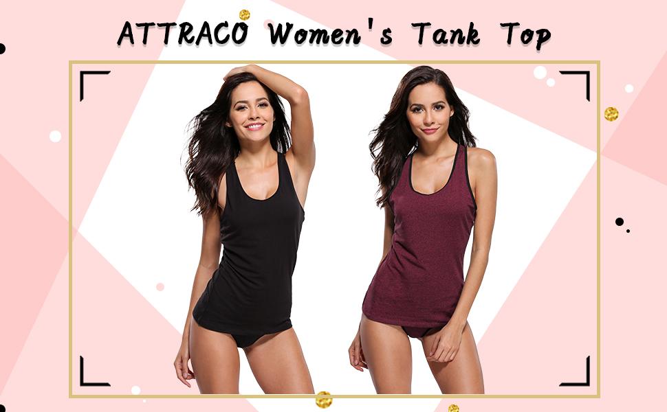 cc286d977a Amazon.com  ATTRACO Women s Cotton Camisole Tank Top Racerback ...