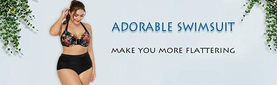 566ddae018b Amazon.com  ATTRACO Women s Plus-Size Bikini Set High Waist Two ...