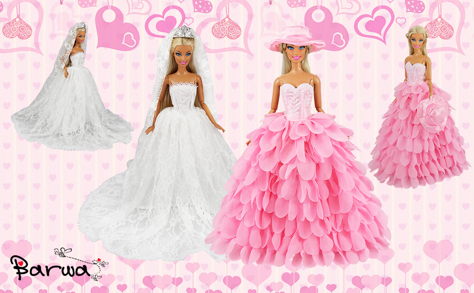 5b122b5bbd5d Barwa White Wedding Dress with Veil and Pink Princess Evening Party Clothes  Wears Gown Dress Outfit with Hat for Barbie Doll