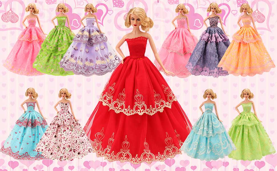 73b9e8aadc6 Barwa Barbie Doll Clothes 5 Pcs Handmade Fashion Wedding Party Evening Ball Gown  Dresses Doll Clothes for 11.5 inch Doll Birthday Xmas Gift