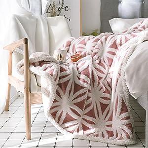 Junovo Sherpa Manta de forro polar suave de piel sint/ética de doble cara mantas decorativas para sof/á cama o sof/á Rojo, 127 x 152 cm