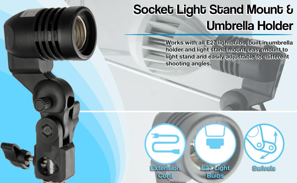 AGG886 LimoStudio 2 Pcs Photography Studio AC Socket Light Stand Mount Umbrella Holder