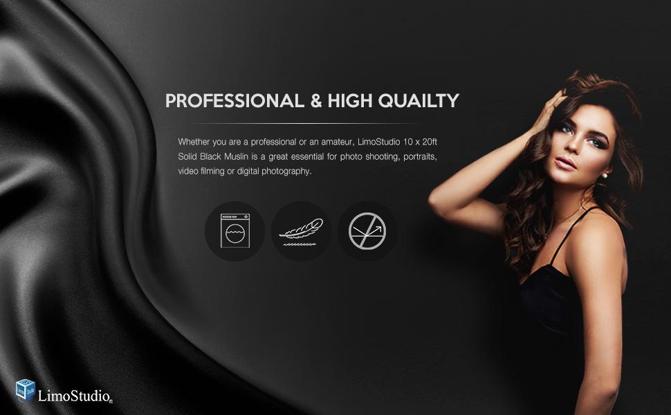 AGG1601 LimoStudio 10 x 20 Photo Video Studio Seamless Solid Black Muslin Backdrop Photo Studio Background