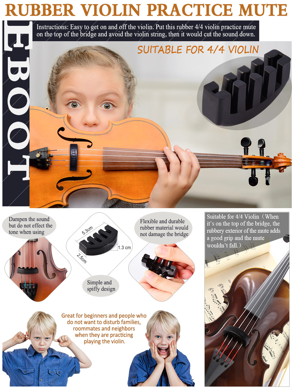 13 14 viola durable rubber Fiddle Silencer for Beginners and Professionals. Violin Mute for 3//4 /& 4//4 Violin