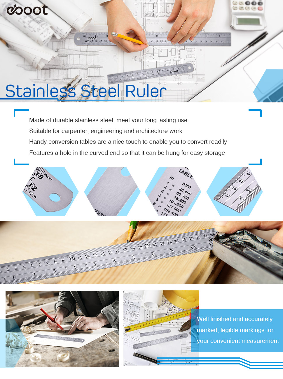 Amazon eboot stainless steel ruler 12 inch and 6 inch metal premium quality stainless steel heavy duty and non bendable which is ideal for meeting your long lasting use nvjuhfo Choice Image
