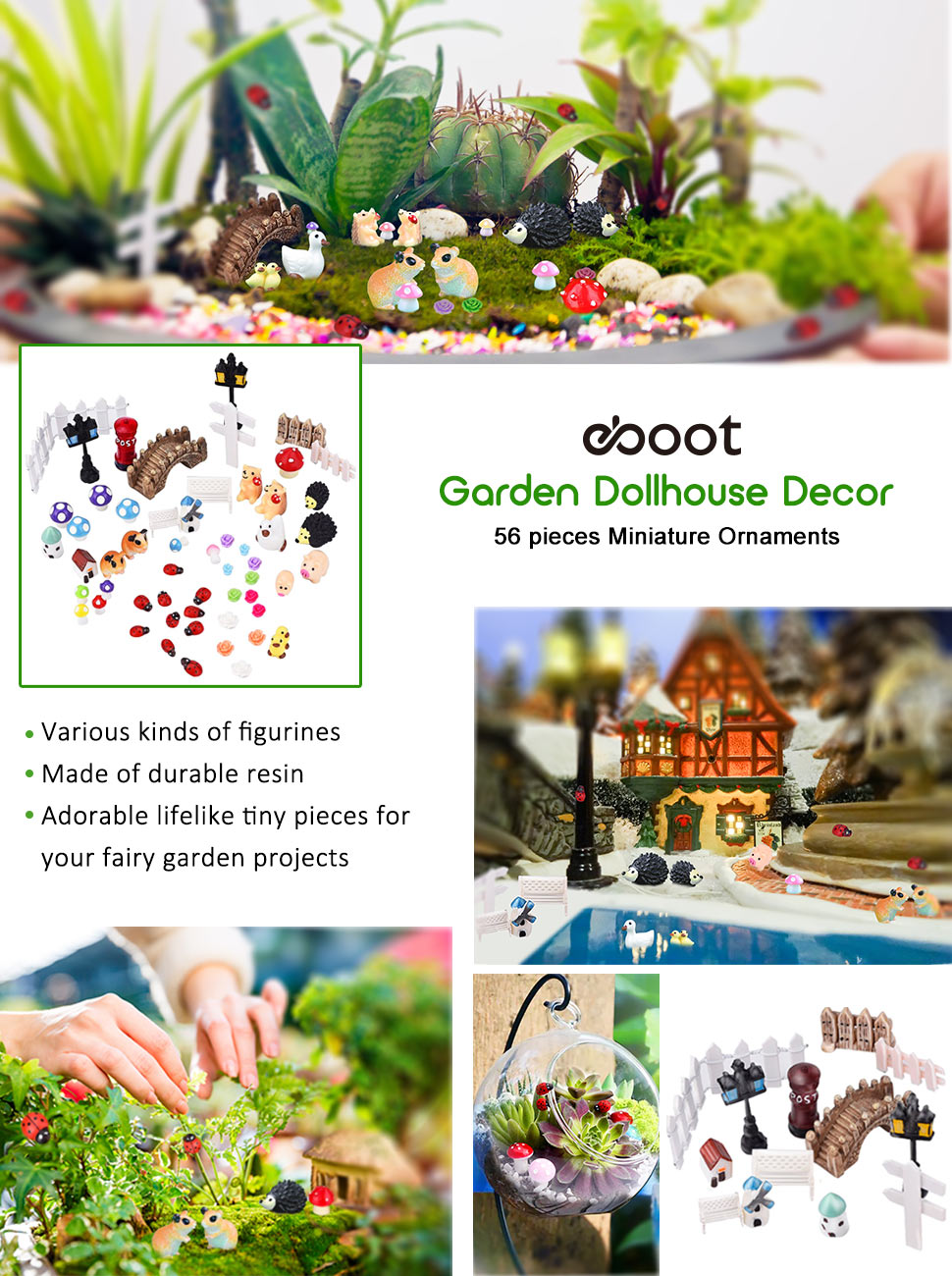 Miniature ornaments - These 56 Pieces Mini Fairy Ornaments Are Suitable For Diy Decoration Of Mini Garden Views Mini Landscaping Dollhouse And Plant Decoration