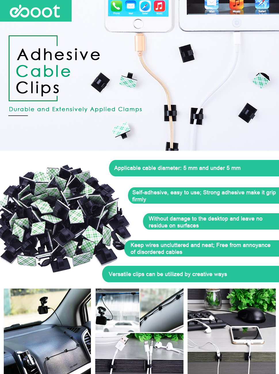 Amazon.com: eBoot 100 Pieces Adhesive Cable Clips Wire Clips Cable ...
