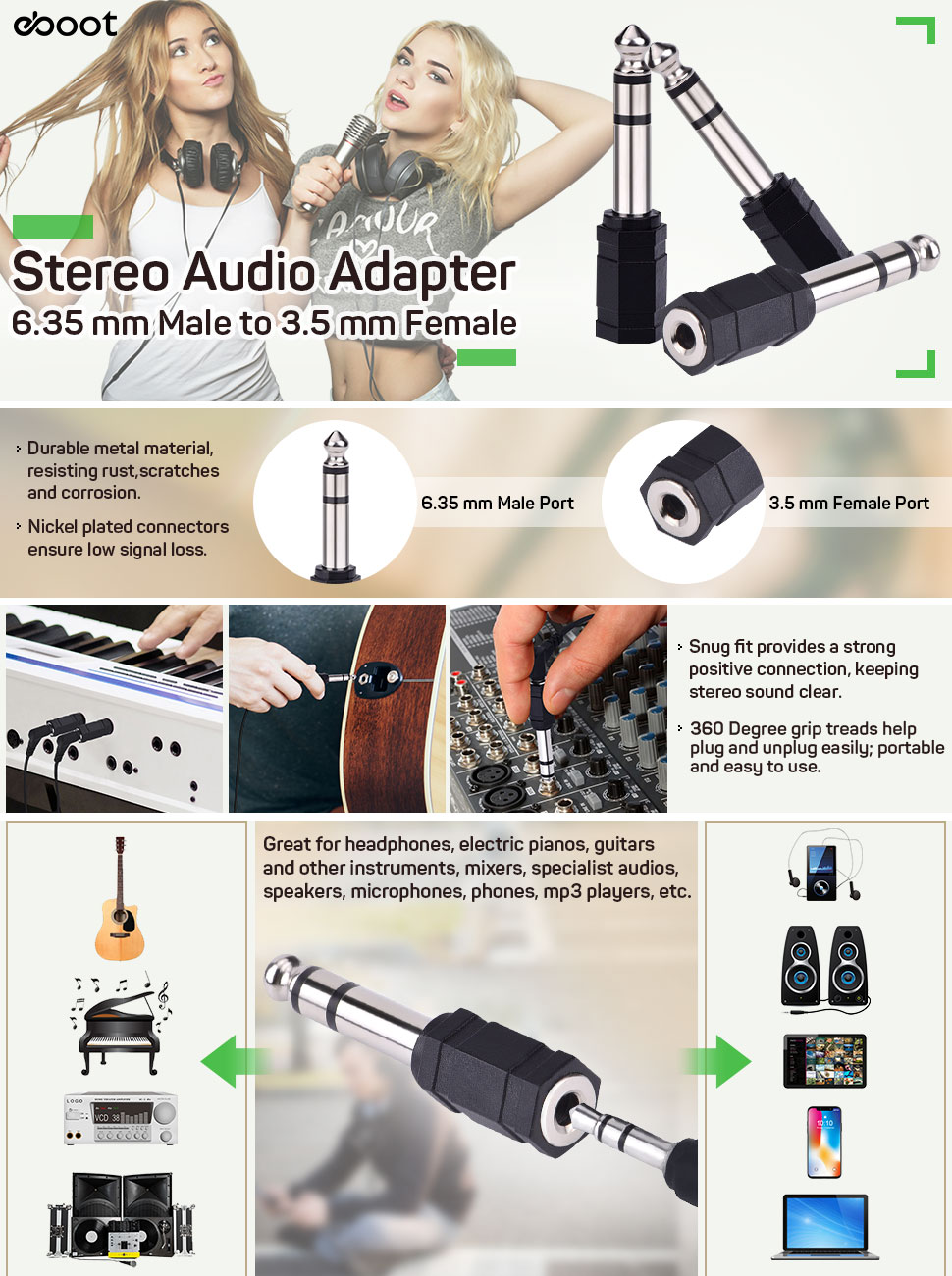 Eboot 635 Mm Audio Stereo Plug To 35 1 4 Inch Jack Wiring S3oh5eoruuh Ux970 Ttw