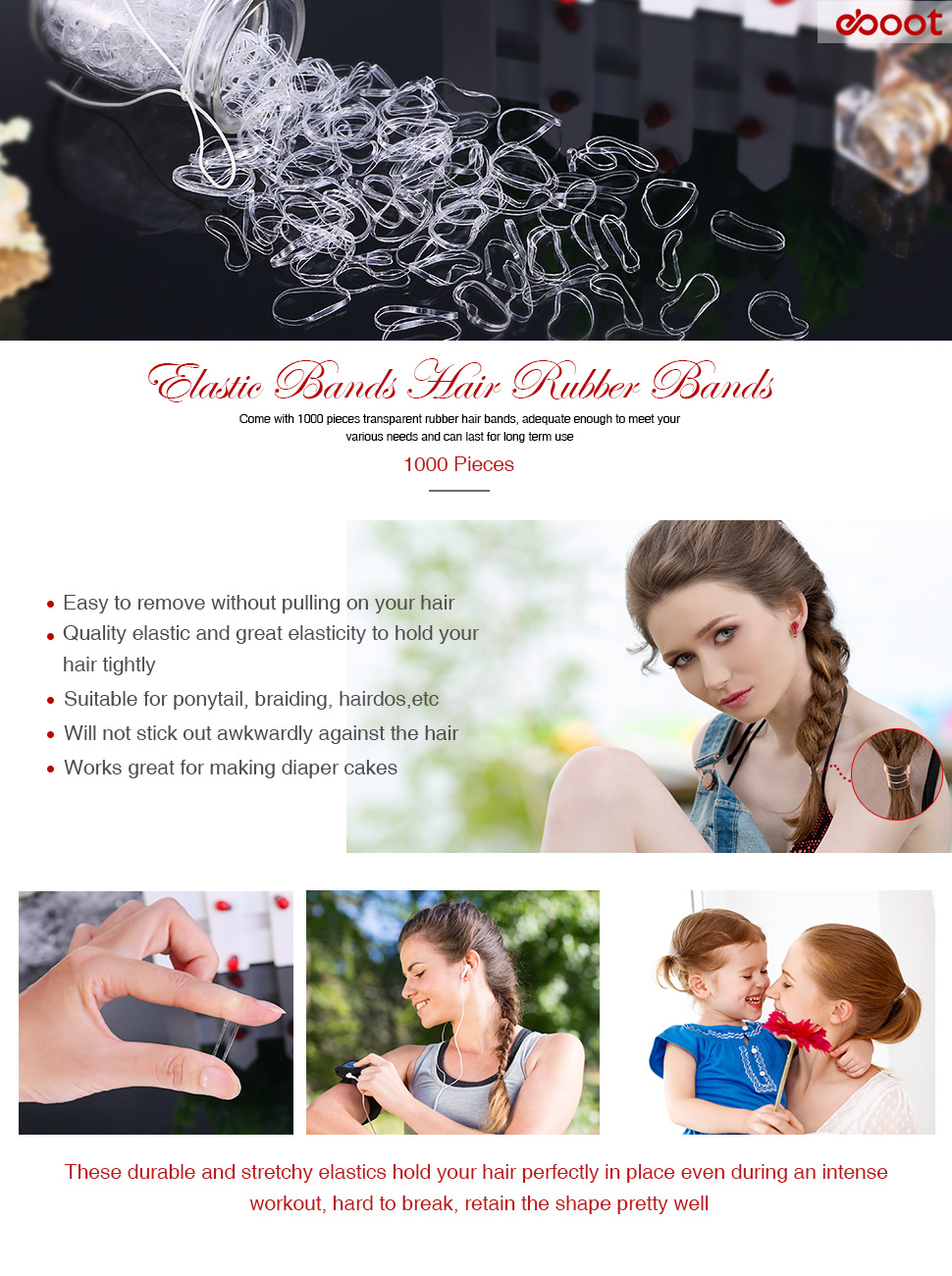 Come With 1000 Pieces Transparent Rubber Hair Bands, Adequate Enough To  Meet Your Various Needs And Can Last For Long Term Use