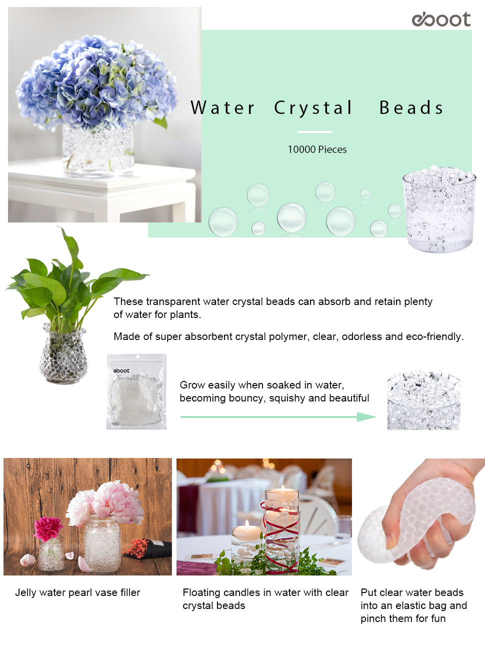Amazon Com Eboot Clear Gel Soil Water Crystal Beads Jelly Water