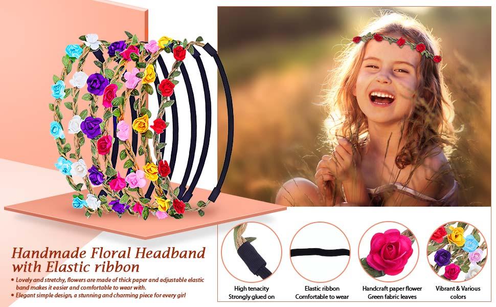 Amazon.com   eBoot 7 Pieces Rose Flower Headband Hair Band for Women ... 0dfb8fda93f