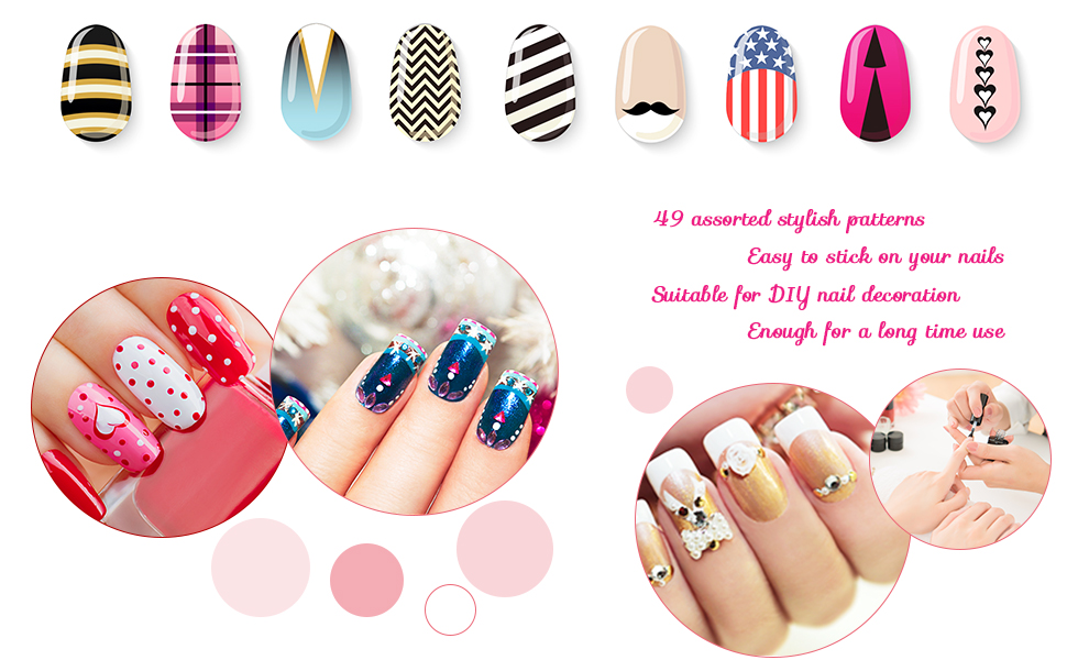 EBoot 1275 Pieces 49 Designs Nail Art Stencils French Tip Guides ...
