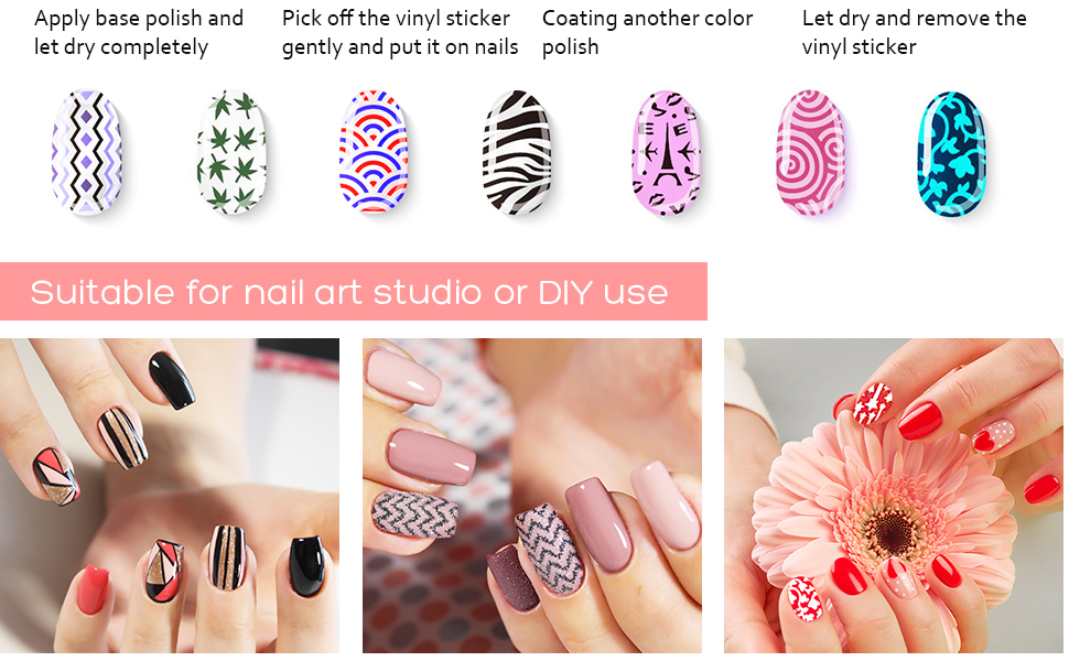 Amazon EBoot 288 Pieces 96 Designs Nail Vinyls Stencil